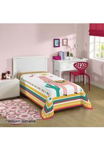 Manta Fleece Solteiro Lhama- Branca & Amarela- 150X2Lepper