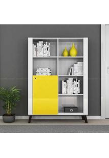 Estante Livreiro 1 Porta Alpha Branco/Amarelo - Colibri