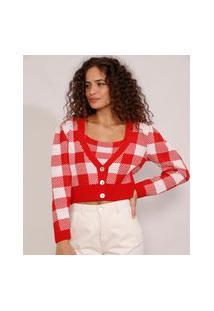 Cardigan Feminino De Tricô Estampado Xadrez Vichy Cropped Decote V Vermelho
