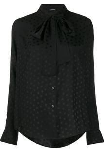P.A.R.O.S.H. Blusa Com Laço Na Gola E Estampa De Estrela - Preto