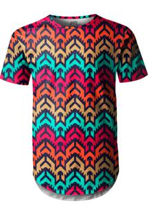 Camiseta Longline Over Fame Vetor Tribal Multicolorido