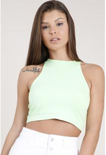 Top Cropped Feminino Básico Halter Neck Canelado Verde Claro