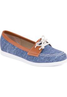 Sapato Mocassim Com Cadarço - Beira Rio - Feminino-Azul+Caramelo