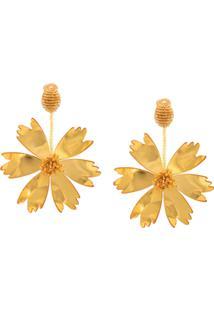 Oscar De La Renta Flower Earrings - Roxo
