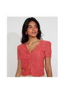 Blusa Feminina Estampada De Poá Manga Bufante Cropped Com Franzido Decote V Vermelha