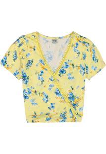 Blusa Amarelo Claro Ampla Com Renda