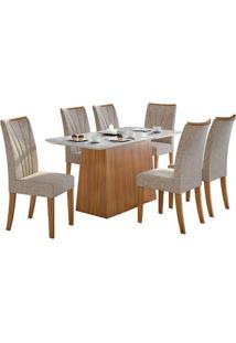 Sala De Jantar Nevada 170Cm Plus Com 6 Cadeiras Rovere Velvet Riscado Bege