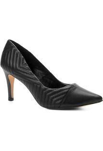 Scarpin Couro Shoestock Salto Alto Matelassê - Feminino-Preto