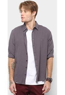 Camisa Cavalera Manga Longa Básica Caue Masculina - Masculino-Chumbo