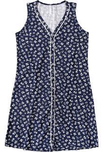 Camisola Curta Floral Malwee Liberta Azul Escuro - P