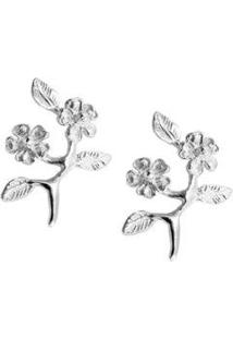 Brinco Floral Ramo - Feminino-Prata