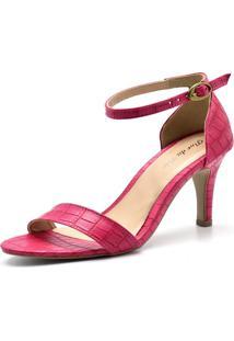 Sandália Gasparini Tiras Croco Pink