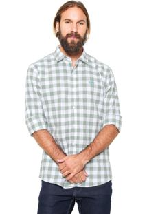 Camisa Linho Von Dutch Quadriculada Verde