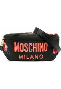 Moschino Pochete Com Logo E Estampa Floral - Preto