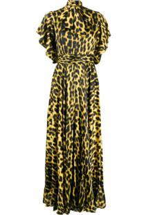 Just Cavalli Vestido Com Laço E Estampa De Leopardo - Amarelo