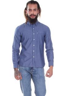 Camisa Levis Masculina Sunset One Pocket Listrada Azul Listra