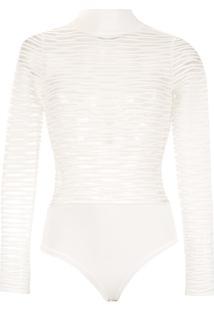 Bo.Bô Body Gola Alta Com Textura - Branco