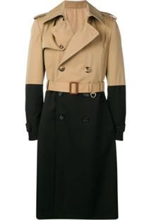 Alexander Mcqueen Trench Coat Color Block - Marrom