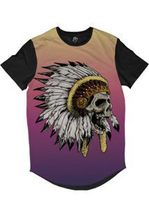 Camiseta Bsc Longline Caveira Indiana Cocar Sublimada Preta Roxa