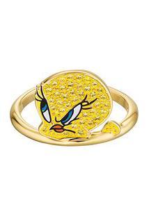 Anel Looney Tunes® Banhado À Ouro Amarelo- Dourado & Amaswarovski