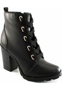 Coturno Combat Boot Cadarço Sapato Show - Feminino-Preto