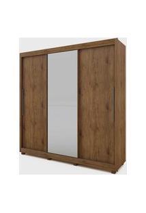 Guarda Roupa Royale 3 Portas C/ 1 Porta De Espelho Madeirado Ou Madeirado/Off White Gelius Móveis