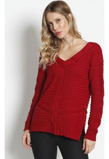 Blusa Em Tricã´ Listrado- Vermelha- Ponto Aguiarponto Aguiar