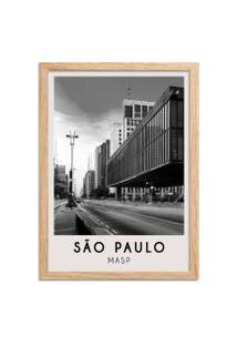 Quadro Oppen House 65X45Cm Cidades Sáo Paulo Brasil Moldura Natural Com Vidro - Oppen House Decora