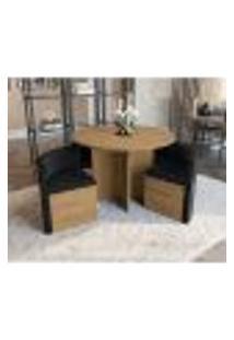 Conjunto De Mesa De Jantar Com 4 Cadeiras Cesky Suede Preto E Freijó
