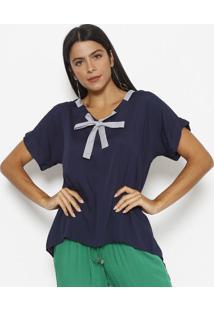 Blusa Com Amarraã§Ã£O - Azul Marinho & Off White - Linlinho Fino