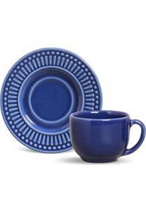 Conjunto De Xícaras Para Chá La Tavola Em Cerâmica 161 Ml Com 06 Peças Azul Navy - Porto Brasil