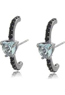 Brinco Viva Jolie Ear Hook Aquamarine Coração Fusion Ródio Negro