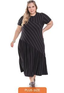 Vestido Feminino Plus Size Com Listras Preto