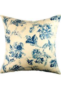 Capa De Almofada Floral- Off White & Azul Marinho- 4Stm Home