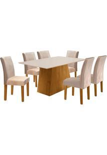 Conjunto De Mesa De Jantar Sevilha Com 6 Cadeiras Classic L Suede Off White E Bege