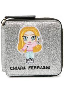 Chiara Ferragni Carteira Com Detalhe De Patch Bordado - Prateado