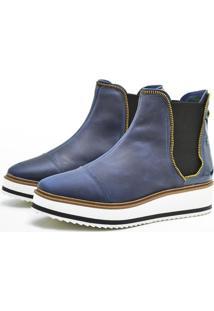Bota Corazzi Leather Deluxe Chelsea Flatform Azul