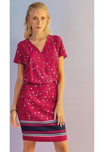 Vestido Manga Curta Estampado Vermelho