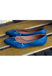 Sapatilha Dm Extra Bordada Azul Marinho Dme18613262D Numeração Especial 41 42 43