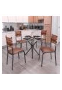 Conjunto De Mesa Com Tampo De Vidro E 4 Cadeiras Istambul Ii Preto E Marrom