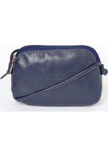 Bolsa Transversal Em Couro Com Compartimentos- Azul Mariedu Bolsas