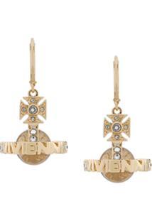 Vivienne Westwood Par De Brincos Com Logo - Dourado