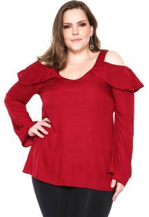 Blusa Ciganinha Wee! Babados Plus Size Vermelha
