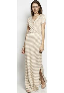 40641ec5f ... Vestido Longo & Listrado Com Fenda- Bege & Branco- Nnem