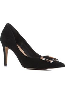 Scarpin Couro Shoestock Salto Alto Nobuck Fivela Marmorizada - Feminino-Preto