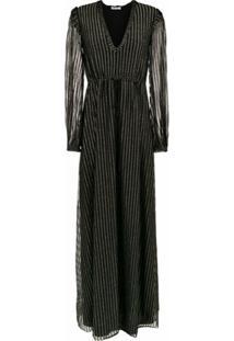 Nk Vestido Longo De Tricô Com Lurex - Preto