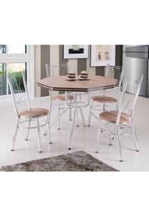 Conjunto De Mesa De Jantar Com 4 Cadeiras Golf Carvalho E Marrom