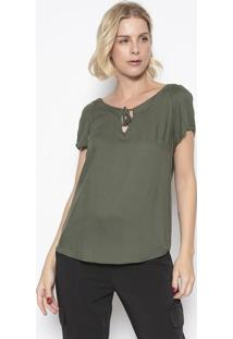 Blusa Texturizada Com Amarração- Verde Militar- Vip Vip Reserva