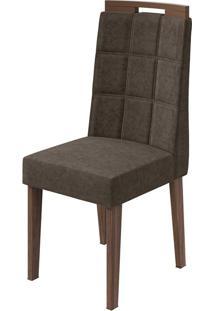 Cadeira Nevada Velvet Light Marrom Imbuia Naturale