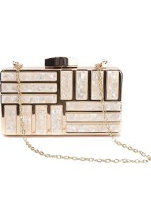 Bolsa Clutch Liage Metal Acrilico Alça Alcinha Dourada Nude/Bege